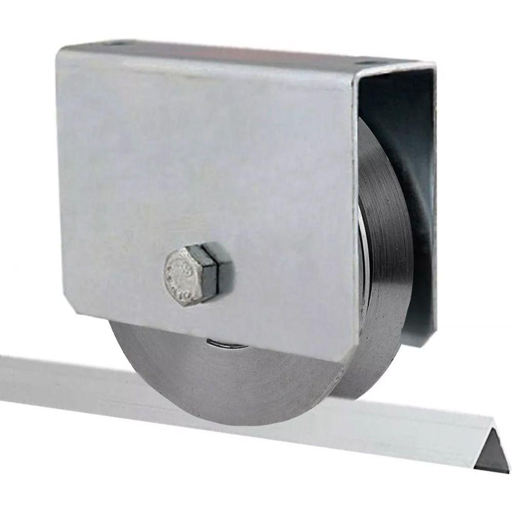 Roldana Aço Para Portão Correr 3 Polegadas Trilho V C/caixa