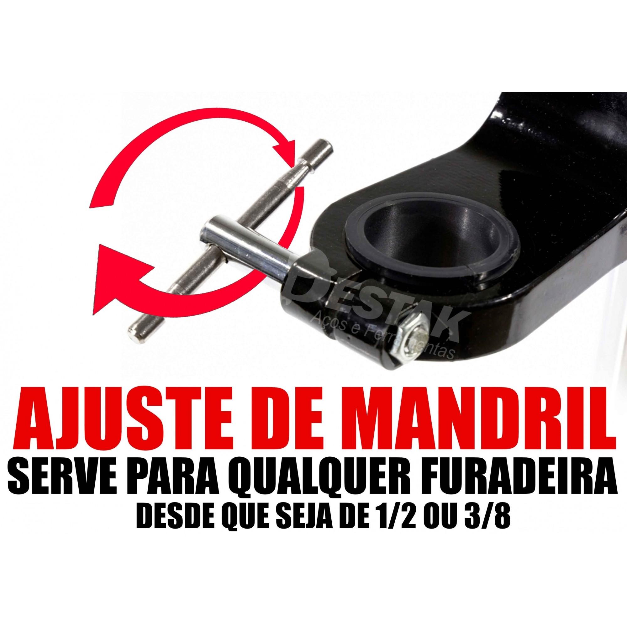 Suporte Ajustável Furadeira Bancada 1/2 E 3/8 Kit Marceneiro