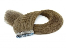 Duas Faixas Mega Hair Fita Adesiva Cabelo Humano Gold Loiro Médio Escuro - 50cm 50g