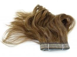Duas Faixas Mega Hair Fita Adesiva Cabelo Humano Gold Loiro Médio Escuro Ondulado - 35cm 30g