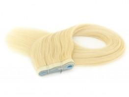 Duas Faixas Mega Hair Fita Adesiva Cabelo Humano Gold Loiro Platinado - 55cm 50g