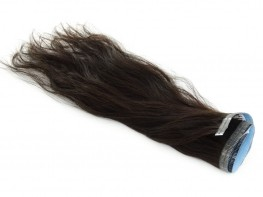 Faixa Mega Hair Fita Adesiva Cabelo Humano Gold Castanho Escuro Natural Ondulado - 35cm 15g