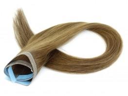 Faixa Mega Hair Fita Adesiva Cabelo Humano Gold  Loiro Médio Escuro - 50cm 25g