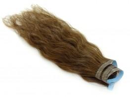 Faixa Mega Hair Fita Adesiva Cabelo Humano Gold Loiro Médio Escuro Ondulado - 35cm 15g