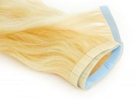 Faixa Mega Hair Fita Adesiva Cabelo Humano Gold Loiro Platinado Ondulado - 35cm 15g