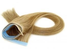 Invisível Faixa Contínua Mega Hair Fita Adesiva Cabelo Humano Gold Loiro Médio Claro - 45cm 20g