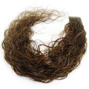 Mega Hair Fita Adesiva Premium  20 peças Castanho Claro #6 Cabelo Humano Cacheado 55cm