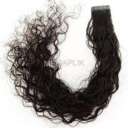Mega Hair Fita Adesiva Premium 10 e 20 peças Castanho Escuro Natural Cabelo Humano Cacheado 55cm