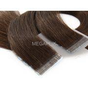 PROMOÇÃO CARNAVAL - Mega Hair Fita Adesiva Premium 20 peças Castanho Escuro #3 Cabelo Humano 35cm, 45cm, 55cm e 65cm