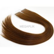 PROMOÇÃO CARNAVAL - Mega Hair Fita Adesiva Premium 20 peças Castanho Chocolate #66 Cabelo Humano 35cm, 45cm, 55cm e 65cm