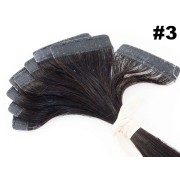 PROMOÇÃO 20% - Mega Hair Fita Adesiva Classic 10 Peças Castanho Escuro #3 Cabelo Humano 55cm