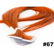 Mega Hair Fita Adesiva Classic Ruivo 55cm - 10 peças - Cor 67 - PROMOÇÃO