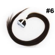 PROMOÇÃO CARNAVAL - Mega Hair Fita Adesiva Classic 10 Peças Castanho Claro #6 Cabelo Humano 55cm
