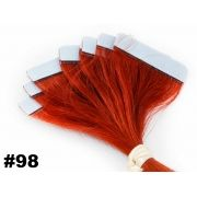 Mega Hair Fita Adesiva Classic Vermelho 55cm - 10 peças - Cor 98 - PROMOÇÃO
