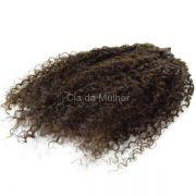 PROMOÇÃO CARNAVAL - Tela para Mega Hair Castanho Escuro #3 Cabelo Humano Cacheado Crespo 55cm 100g