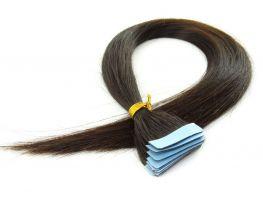 Mega Hair Fita Adesiva Cabelo Humano Classic Castanho Escuro Natural - 10 peças 45cm 30g