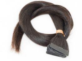 Mega Hair Fita Adesiva Cabelo Humano Classic Castanho Escuro Natural - 20 peças 45cm 40g