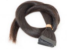 Mega Hair Fita Adesiva Cabelo Humano Classic Castanho Escuro Natural - 20 peças 55cm 50g