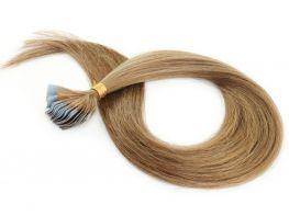 Mega Hair Fita Adesiva Cabelo Humano Classic Loiro Médio/Escuro #7 - 20 peças 45cm 40g