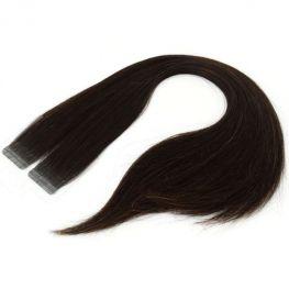 Mega Hair Fita Adesiva Cabelo Humano Premium Castanho Escuro Natural - 20 peças 45cm 40g