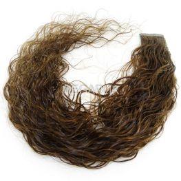 Mega Hair Fita Adesiva Cabelo Humano Premium Cacheado Castanho Claro #6 - 10 peças 45cm 20g