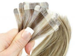Mega Hair Fita Adesiva Cabelo Humano Premium Castanho e Loiro Mechado #6/10 - 10 peças 45cm 25g