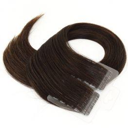 Mega Hair Fita Adesiva Cabelo Humano Premium Castanho Escuro Natural - 20 peças 35cm 50g