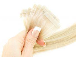 Mega Hair Fita Adesiva Cabelo Humano Premium Loiro Claríssimo #10 - 10 peças 45cm 20g