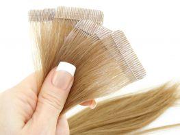 Mega Hair Fita Adesiva Cabelo Humano Premium Loiro Claro #9 - 10 peças 55cm 25g