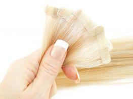 Mega Hair Fita Adesiva Cabelo Humano Premium Loiro Mechado #9/12 - 10 peças 45cm 20g