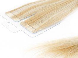 Mega Hair Fita Adesiva Cabelo Humano Premium Loiro Mechado #9/12 - 20 peças 65cm 60g