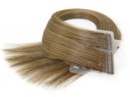Mega Hair Fita Adesiva Cabelo Humano Premium Loiro Médio Escuro #7 - 20 peças 45cm 45g