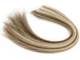 Mega Hair Fita Adesiva Cabelo Humano Premium Castanho e Loiro Mechado #6/10 - 20 peças 45cm 40g