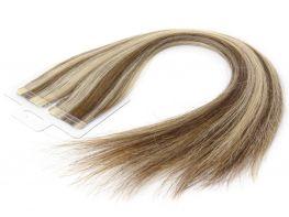 Mega Hair Fita Adesiva Cabelo Humano Premium Castanho e Loiro Mechado #6/10 - 20 peças 65cm 60g