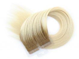 Mega Hair Fita Adesiva Cabelo Humano Premium Ombre Loiro Platinado #7/12 - 20 peças 55cm 50g