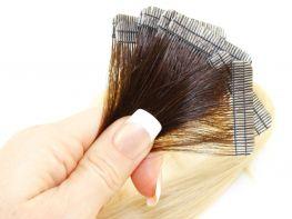 Mega Hair Fita Adesiva Cabelo Humano Premium Ombre Castanho e Loiro Claríssimo #4/10 - 10 peças 35cm 15g