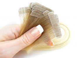 Mega Hair Fita Adesiva Cabelo Humano Premium Ombre Loiro Platinado #7/12 - 10 peças 55cm 25g