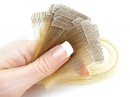 Mega Hair Fita Adesiva Cabelo Humano Premium Ombre Loiro Platinado #7/12 - 10 peças 65cm 30g