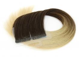 Mega Hair Fita Adesiva Cabelo Humano Premium Ombre Morena Iluminada - 20 peças 50cm 50g