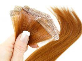 Mega Hair Fita Adesiva Cabelo Humano Premium Ruivo #67 - 10 peças 45cm 20g