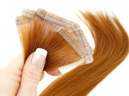 Mega Hair Fita Adesiva Cabelo Humano Premium Ruivo #67 - 10 peças 65cm 30g