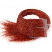 Mega Hair Fita Adesiva Cabelo Humano Premium Vermelho #98 - 20 peças 35cm 30g