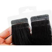 Mega Hair Fita Adesiva Cabelo Humano Premium Preto #1 - 20 peças 55cm 50g
