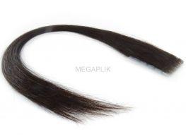 Mega Hair Invisível Cabelo Humano Castanho Escuro Natural - 10 peças 45cm 15g
