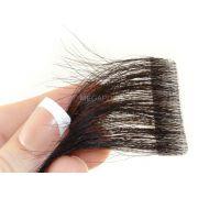 Mega Hair Invisível Cabelo Humano Premium Castanho Escuro Natural - 10 peças 55cm 25g