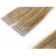 Mega Hair Fita Adesiva Premium 20 peças Loiro Médio/Escuro #7 Cabelo Humano 35cm, 45cm, 55cm e 65cm