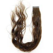 Mega Hair Ondulado Castanho Claro Fita Adesiva Premium - Cor 6