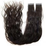 Mega Hair Fita Adesiva Premium 20 peças Castanho Escuro Natural Cabelo Humano Ondulado 45cm e 55cm