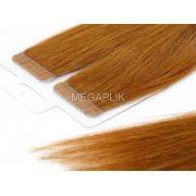 PROMOÇÃO CARNAVAL - Mega Hair Fita Adesiva Premium 20 peças Ruivo #67 Cabelo Humano 35cm, 45cm, 55cm e 65cm