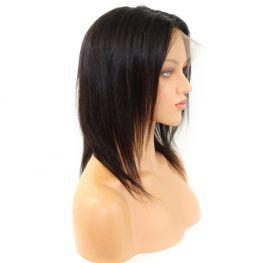 Peruca Lace 360º Cabelo Humano Touca Média Castanho Escuro Natural - 40cm 140g 130%
